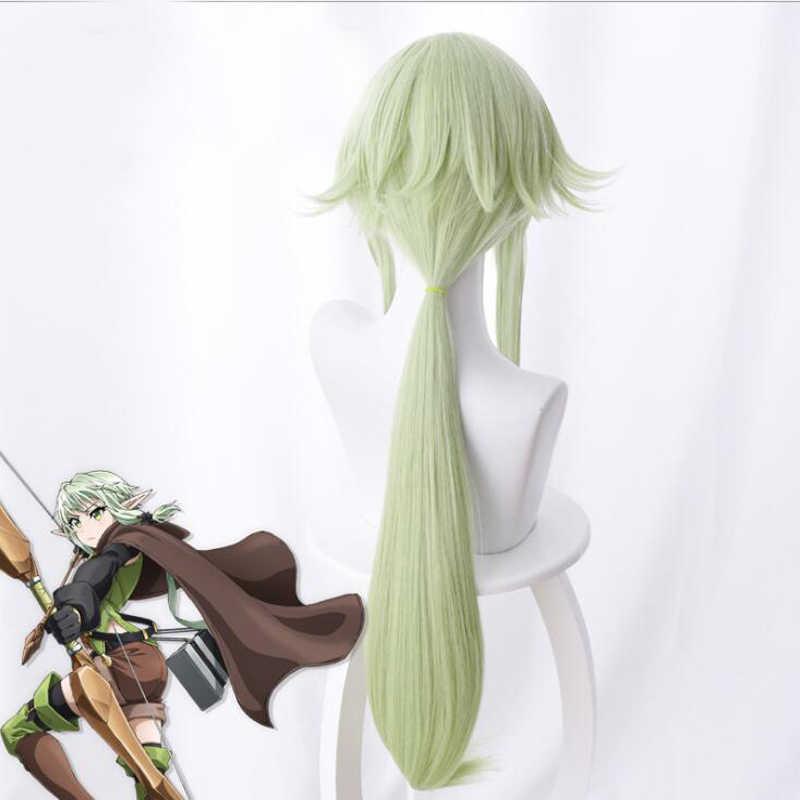 Goblin Slayer Cosplay wysokiej Elf łucznik peruka zielone światło włosy syntetyczne dla dorosłych Cosplay Halloween peruka