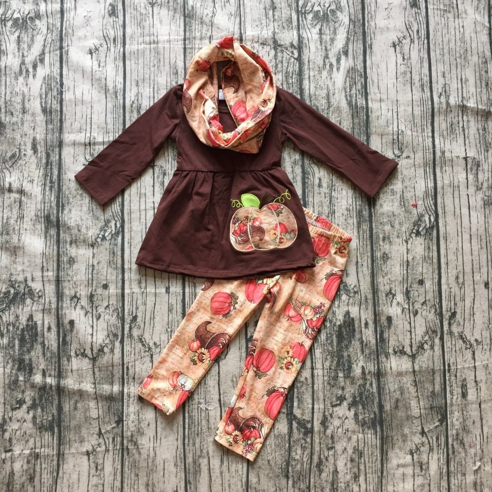 где купить new arrivals Fall/Winter outfits Thanksgiving clothes pumpkin 3 pieces scarf cotton long sleeves boutique pant kids wear sets по лучшей цене