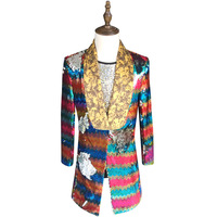 Colorful Sequin Blazer Men 2018 New Long Blazer Suit Jacket Gold Green Pink Prom Blazers For Men Stage DJ Singer Clothing 5xl