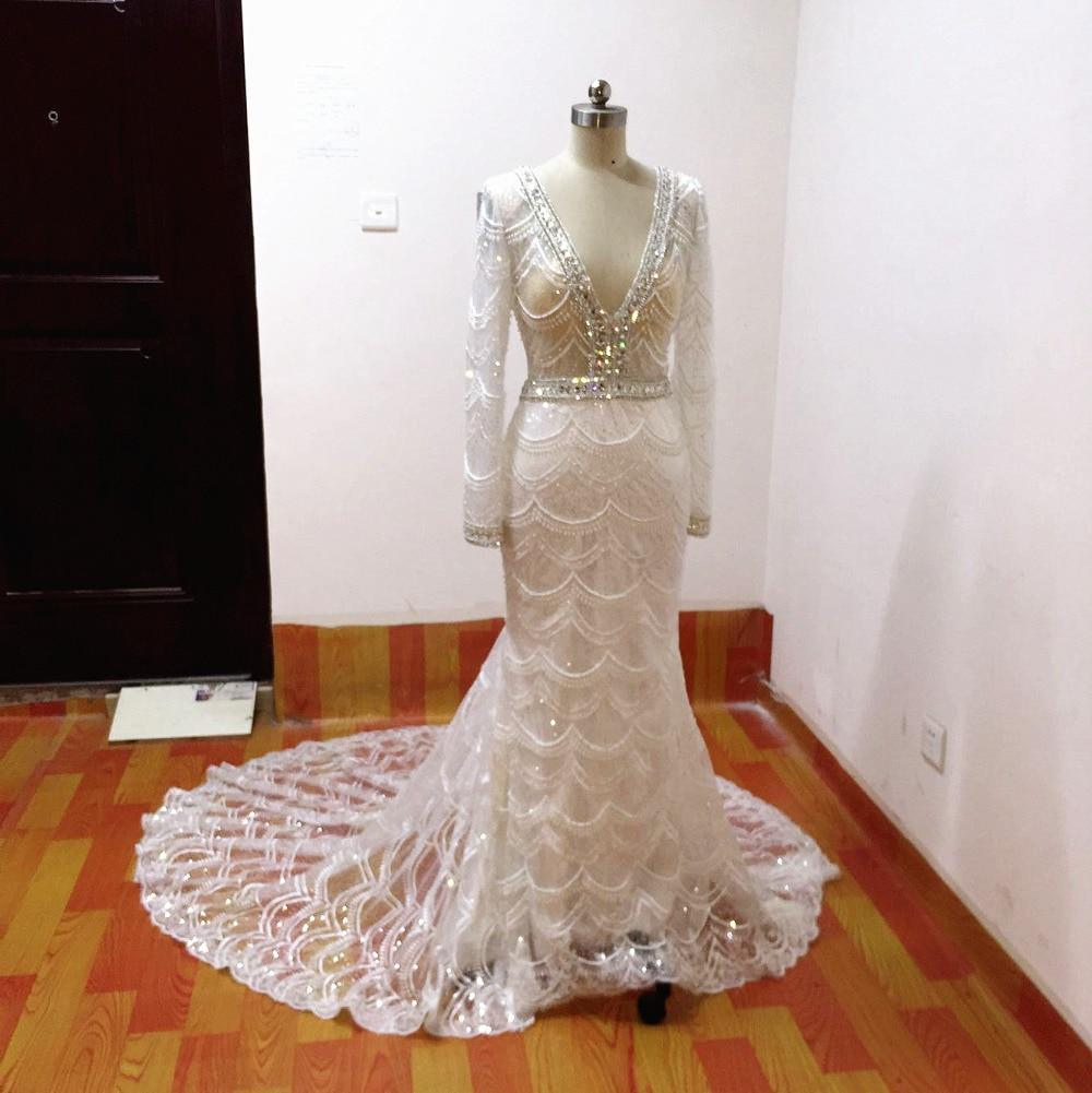Mermaid bröllopsklänningar 2017 spets brudklänning långärmade - Bröllopsklänningar - Foto 3
