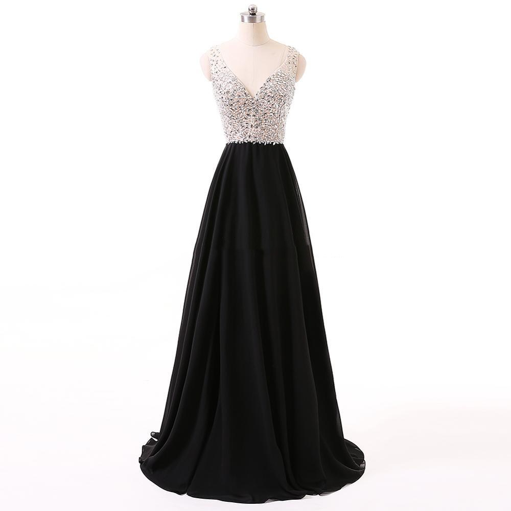 Prom     Dresses   Deep V-Neck Backless Beads Crystal Party Gowns Sleeveless floor-length Cheap Tulle Party   Dress   vestido de formatura