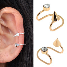 1 Pc Women Girls Punk Crystal Rivet Ear Cuff Warp Gold Silver Plated Cartilage Earring Clip On Piercing Jewelry