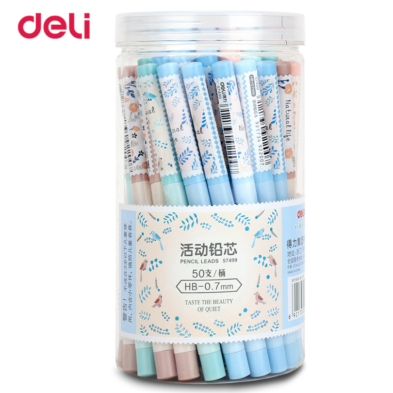 Deli 2017 50 pcs a set pencil refill School Stationery HB 0.7mm Mechanical Pencil Leads Refill for School Office Supplies 2 pcs lot stabilo 7880 mechanical pencil refill 1 4mm lead hb hardness smoothly writting pencil refill