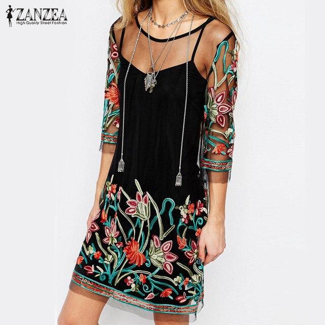 ZANZEA 2017 Boho Women Summer Dress Vintage Floral Embroidery Lace Mesh Mini Dresses Casual See Through Vestidos Plus Size