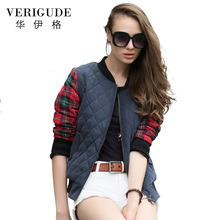 Veri Gude Women's Bomber Jacket Street Wear Short Plaid Coat British Fashion