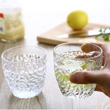 Water Glass 300 ml Transparent 6 pieces Flower Pattern Tea Wine Drink Cup for Whisky Fruit Juice Creative Drinking Crystal