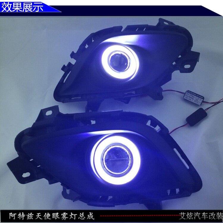 ДХО cob ангел глаз (5 цветов) + галогеновая туман Лампа + проектор линзы + крышка противотуманная фара для Мазда 6 атенза 2013-14, 2шт