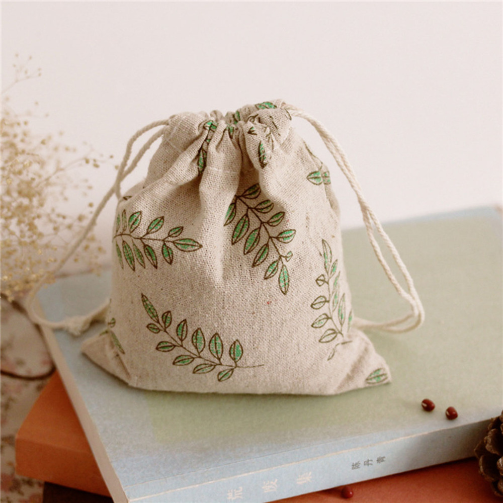 Small Jute Bag Cute Leave Drawstring Gift Bag Wedding Use Sachet Storage Charms Jewelry Packaging Linen Bags