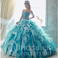 3 pieces Sweetheart Beading Quinceanera Dresses with Removable Skirt Two in One Organza Ruffles Masquerade Dress Ball Gowns 2016