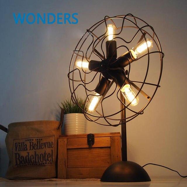 American Vintage RH Loft Industrial Edison Fan Style Table Lamp Restaurant  Cafe Decor Luminaria De Mesa