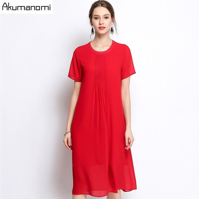 f93b9ff78 Verano vestido de gasa mujeres ropa negro rojo o-cuello de manga corta que  rebordea drapeado a-line vestido más tamaño 5XL 4XL 3XL 2XL XL L M