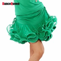 Latin Dance Skirt Gourmet Ice Silk Sequins Net Yarn Dancewear Red Blue Black Yellow Green Cha