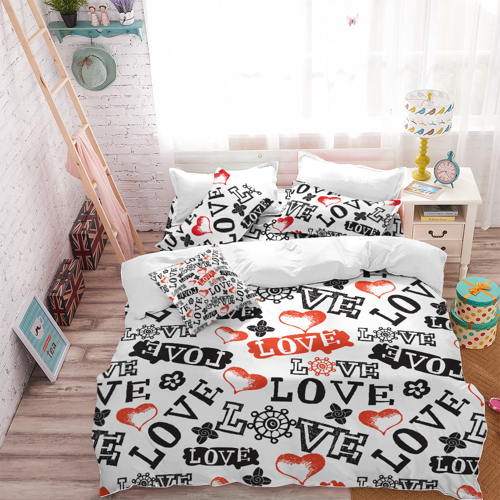 b82ff3ccf6 Couples Bedding Set Letter LOVE Heart Print Duvet Cover Set King Queen  Quilt Cover Valentine's Day Bedding Bedroom Decor D49-in Bedding Sets from  Home ...