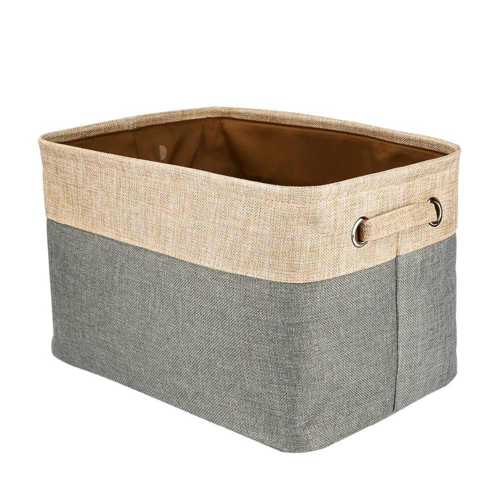 Портативный органайзер складывающийся из хлопка и джута, большая корзина для хранения холста сумка для малышей и детей игрушки, одежда, автомобили и книги