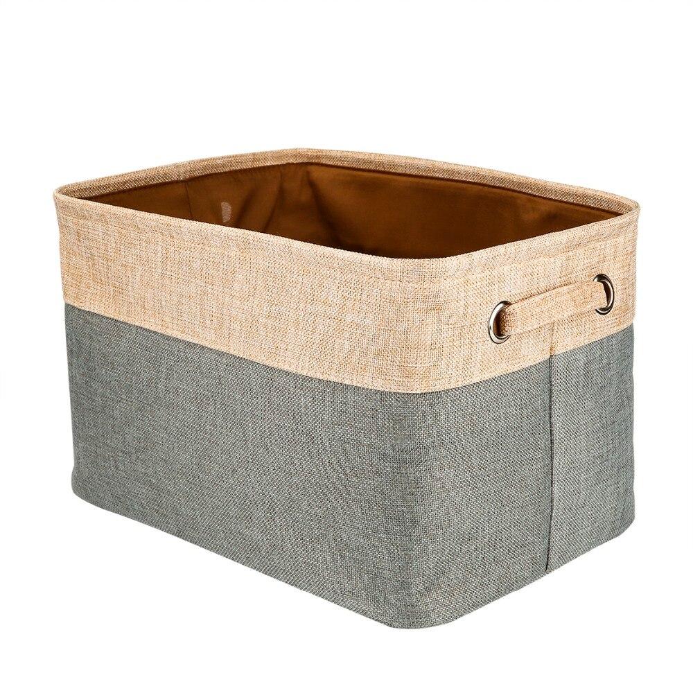 Square Collapsible Canvas Storage Box Foldable Kids Toys: Cotton & Jute Portable Foldable Organizer Boxes, Big
