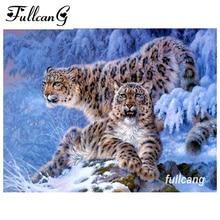 ФУЛЛЦАНГ мозаик ручни рад дии 5д дијамант везење сњежни леопард дијамант слика укрштање бодова пуна квадратна бушилица Г019