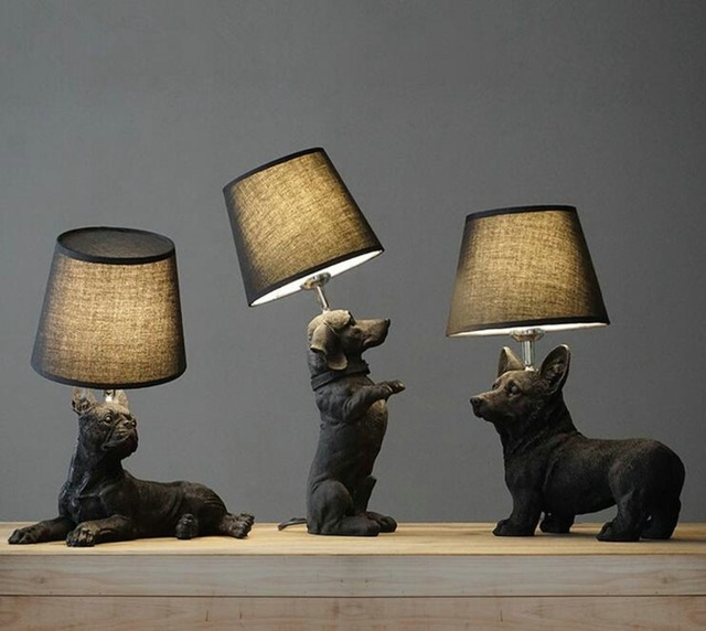 Nordic Danish retro bedroom bedside creative children 's room puppy table  lamp H-ome