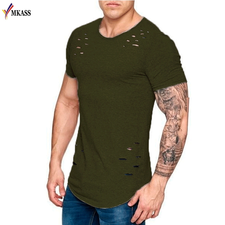 Hot Men Ripped Hole T-shirts Summer Muscle Brothers Short Sleeve Tshirt Male Hip Hop T-Shirt Homme Tee Streetwear shark Jersey