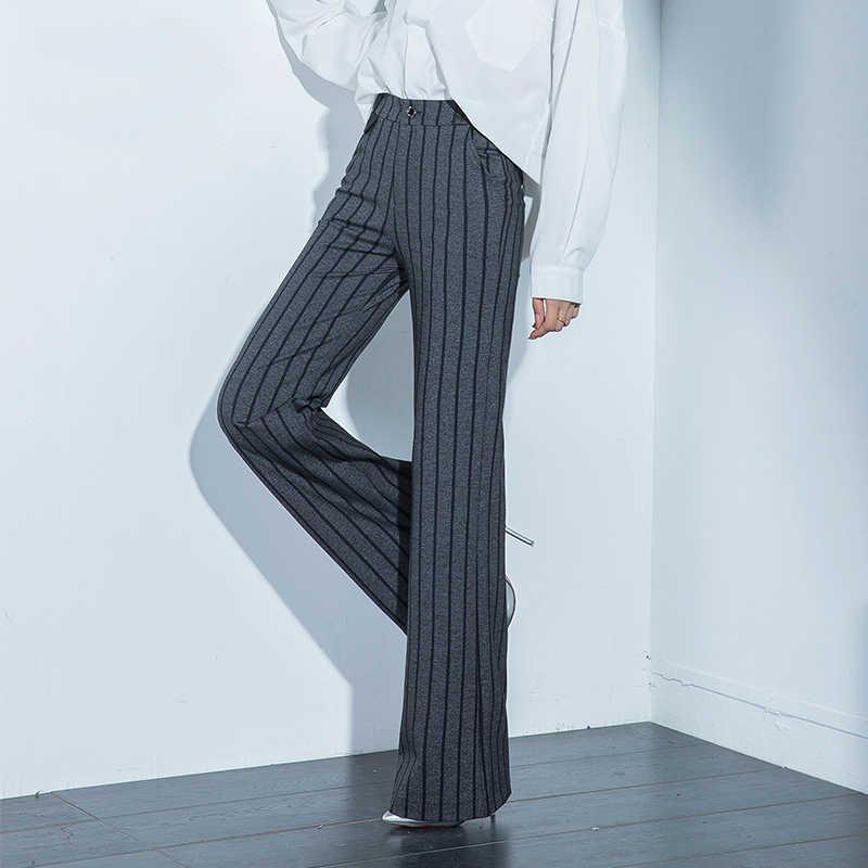 Новый стиль женские модные полосатые расклешенные брюки для весны осени тонкие OL офисные женские брюки с поясом размера плюс S 6XL 8XL