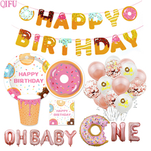 QIFU Pink Girl Ballon Donuts Party Supplies Donut Stand Birthday Decorations One Grow Up Two Sweet Baby Shower Decor