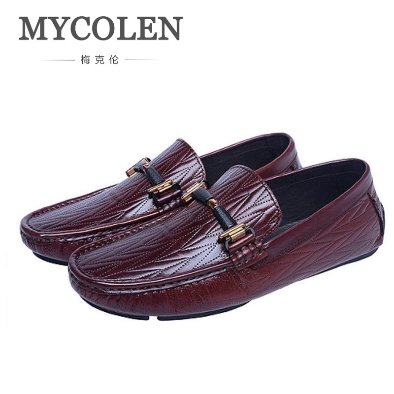 MYCOLEN 2018 New Summer Men Flats Shoes Men Casual Light Soft Slip-on Shoes For Male Zapatos Zapatos Hombre Cuero Genuino cresfimix zapatos women cute flat shoes lady spring and summer pu leather flats female casual soft comfortable slip on shoes