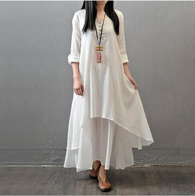 4802842110 Clobee Cotton And Linen Loose Women Dress Vintage Elegant Long Ladies  Dresses Autumn Ethnic Femme Vestidos Chinese Style V803