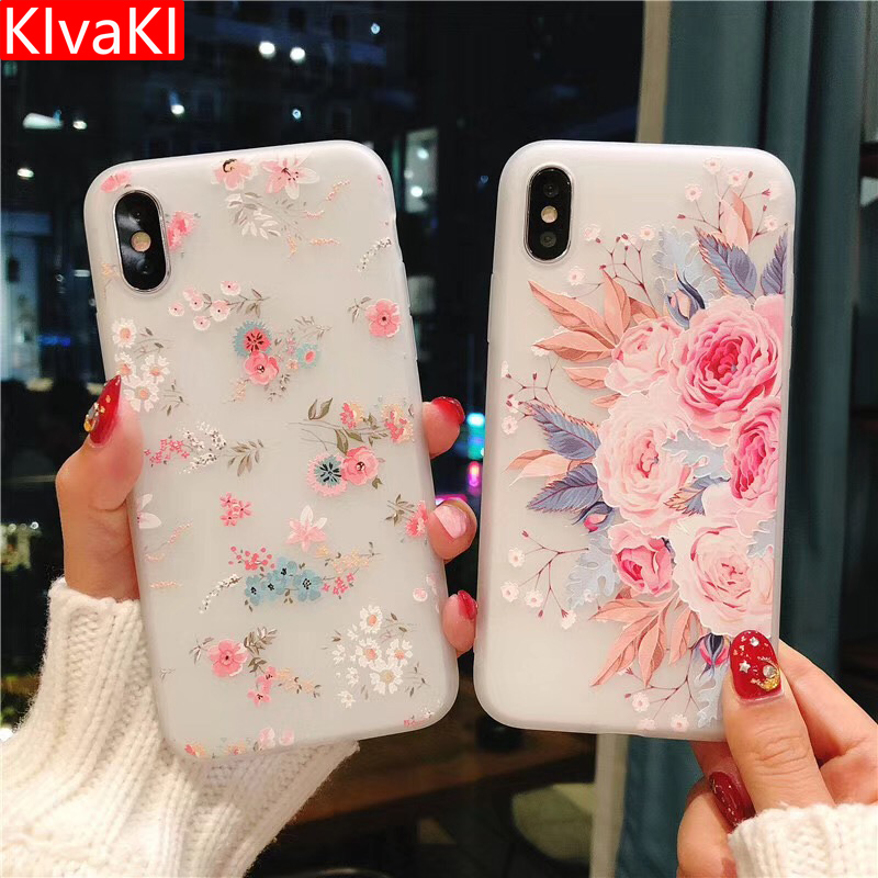 KIvaKI Flower Silicon Phone Case For IPhone 7 8 Plus Rose Floral Leaves Cases For IPhone 8 7 6 6S Plus X 5 5S SE Soft TPU Cover