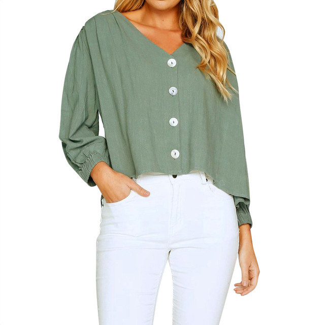Women Loose Button Blouse Long Sleeve V Neck linen Tops Sexy Summer Shirt  Ladies Fashion Casual Blouse Tops In 2018 d52cc4e7d2b7