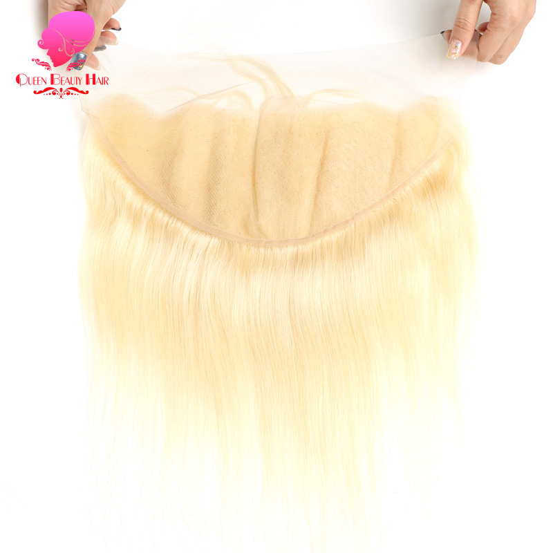 QUEEN 13x6 Frontal Lace Closure Bleached Knots 613 Blonde Brazilian Straight Hair 13x6 Lace Frontal 8 - 22 Inch Free Shipping
