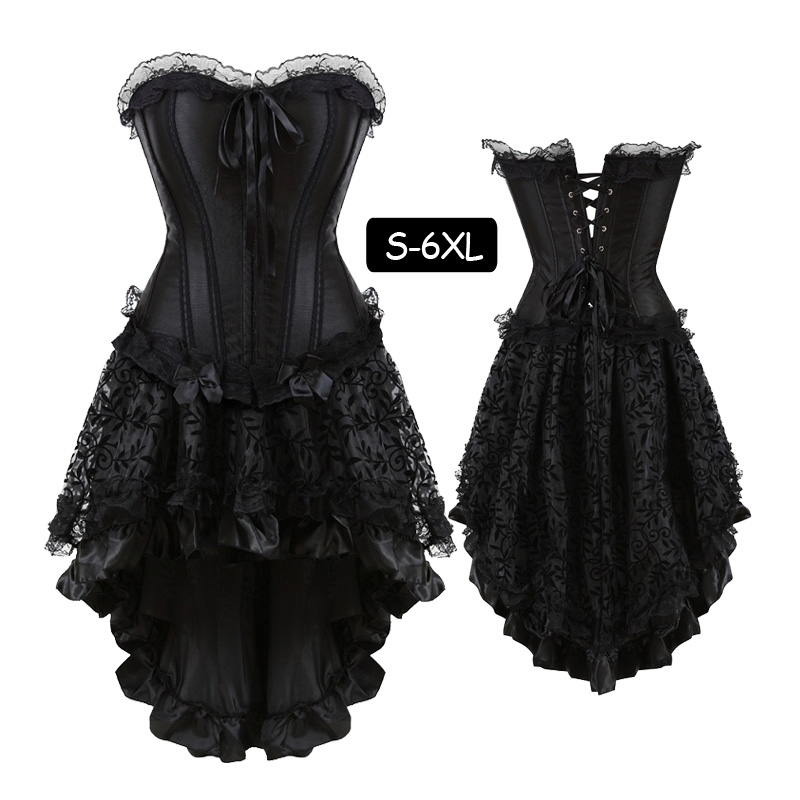 <font><b>Sexy</b></font> <font><b>Gothic</b></font> Petticoat Vintage Corset Dress Set <font><b>Women</b></font> Waist Trainer Body Shaper Plus Size Bustiers Clubwear <font><b>Halloween</b></font> Costumes image