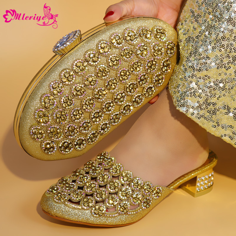 GOLD New Design Italian Shoes With Matching Bag Set Fashion Italy Shoes And Bag To Match African Women Shoes For Parties fashion green color shoes and bag to match italian women shoe and bag to match for parties african shoes and bags matching set