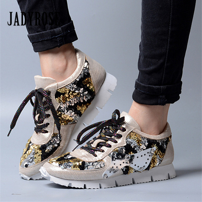 Jady Rose Bling Women Sneakers Lace Up Platform Flat Shoes Woman Tenis Feminino Creepers Female Casual Shoes Espadrilles glowing sneakers usb charging shoes lights up colorful led kids luminous sneakers glowing sneakers black led shoes for boys