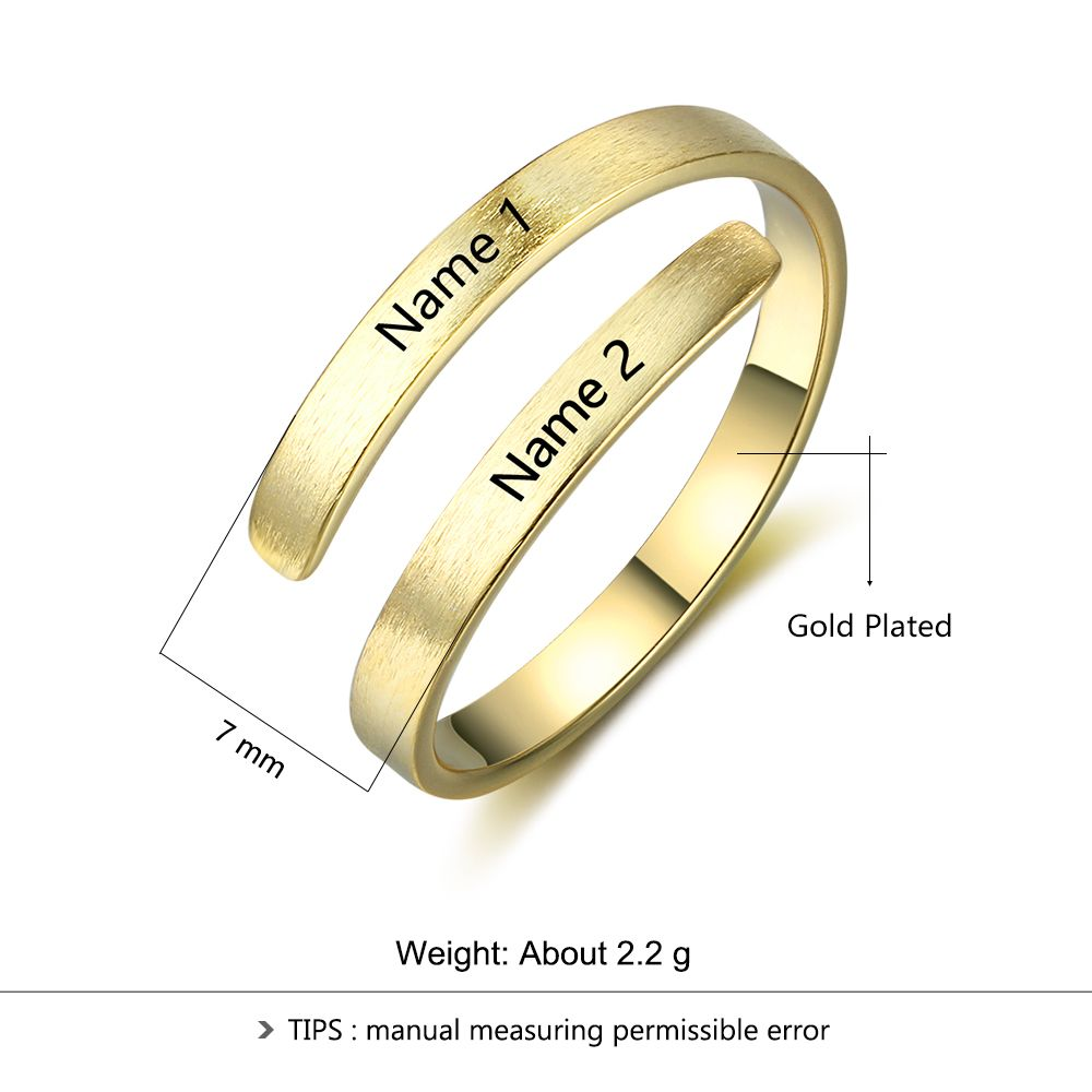 Us 3 84 45 Off Personalized Ring Customize Engraved Names 3 Colors Available Adjustable Rings For Women Anniversary Jewelry Jewelora Ri103498 In