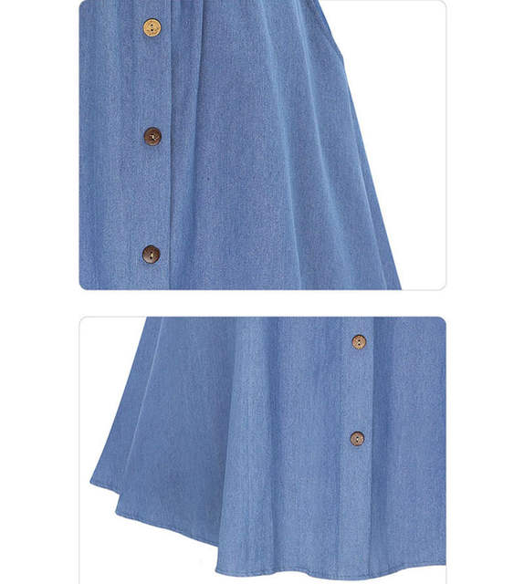 2f18671dc19 Online Shop 2017 summer women cute elastic waist denim jeans skirt ladies large  plus size casual midi skirt female flare pleated buttons