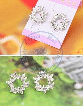 Stud Earrings ear rings Fashion for women Girls lady peace leaf round multi color option desgin CN post