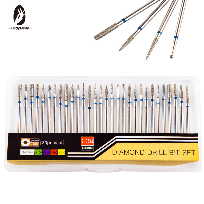 30pcs Rotate Diamond Nail Drill Bit Nail Cutter Burr Cuticle Clean Drill For Electric Drill Machine Manicure Pedicure Drills
