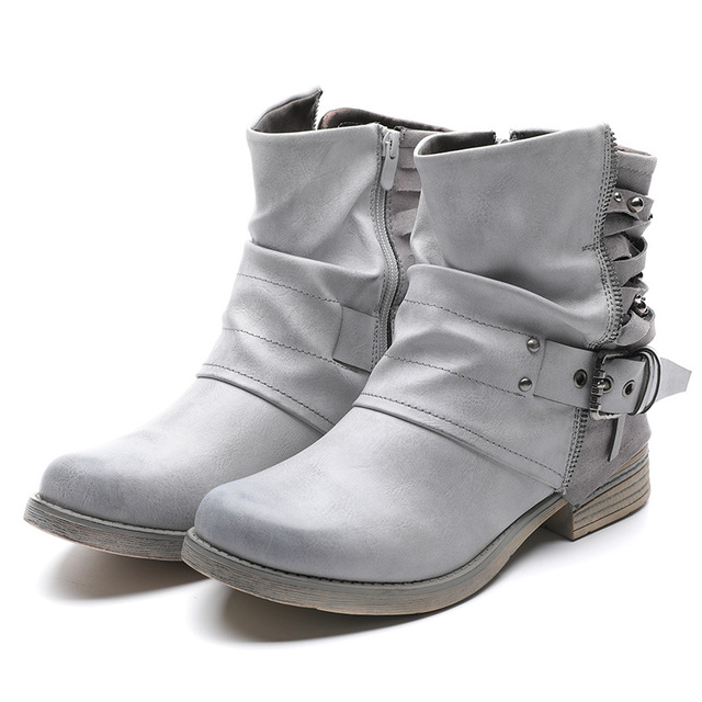 35ff128a7a176 Italy Milan fashion Vintage Women chelsea leather boots Chunky low Heels  buckle zipper ankle Boots Ladies gray Brown Martin boot