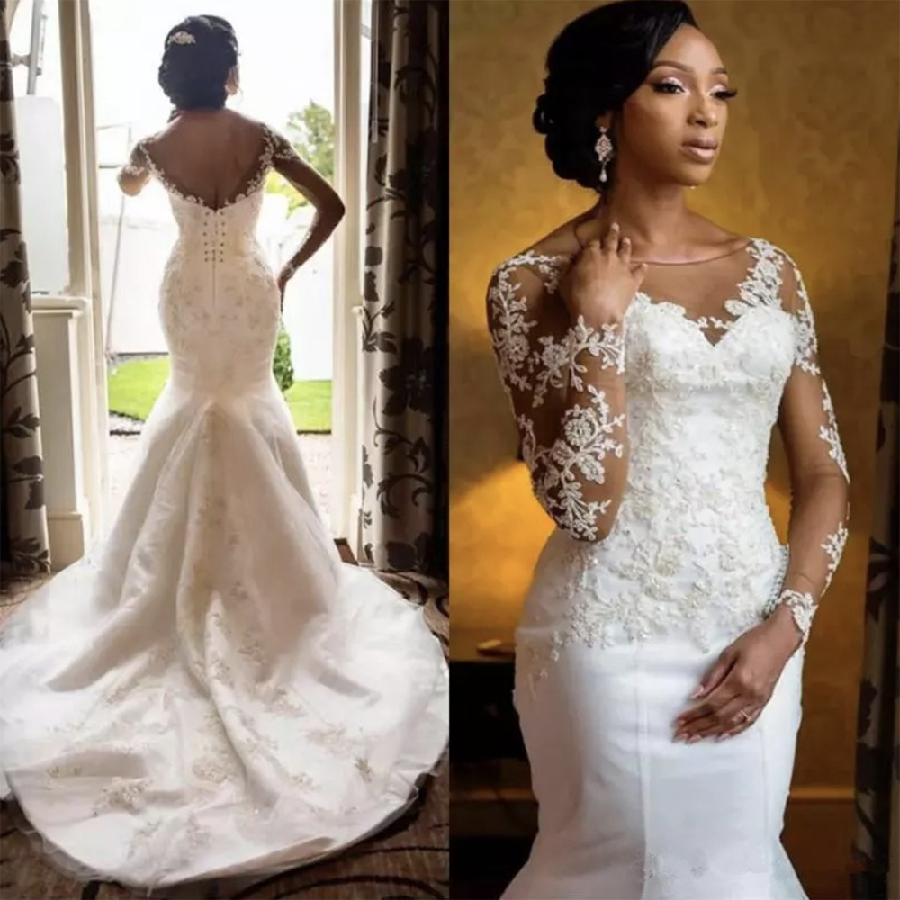 Fansmile 2019 New Arrival Africa Design Full Beading Handwork Beads Ruffle Tiered Mermaid Wedding Dress Backless Gowns FSM 508M-in Wedding Dresses from Weddings & Events