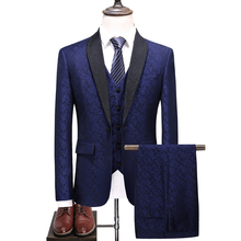Suit 3-piece suit (coat + vest pants) groom wedding dress mens fashion green fruit collar business casual boutique