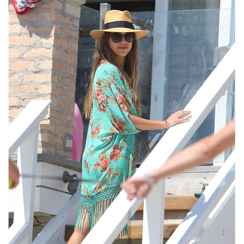 Bikinis Cover Up Beachwear Chiffon Tassel Shawl Beach Sunscreen Blouse Bathing Suit Cover Ups Summer Beach Tunic Robes C1699