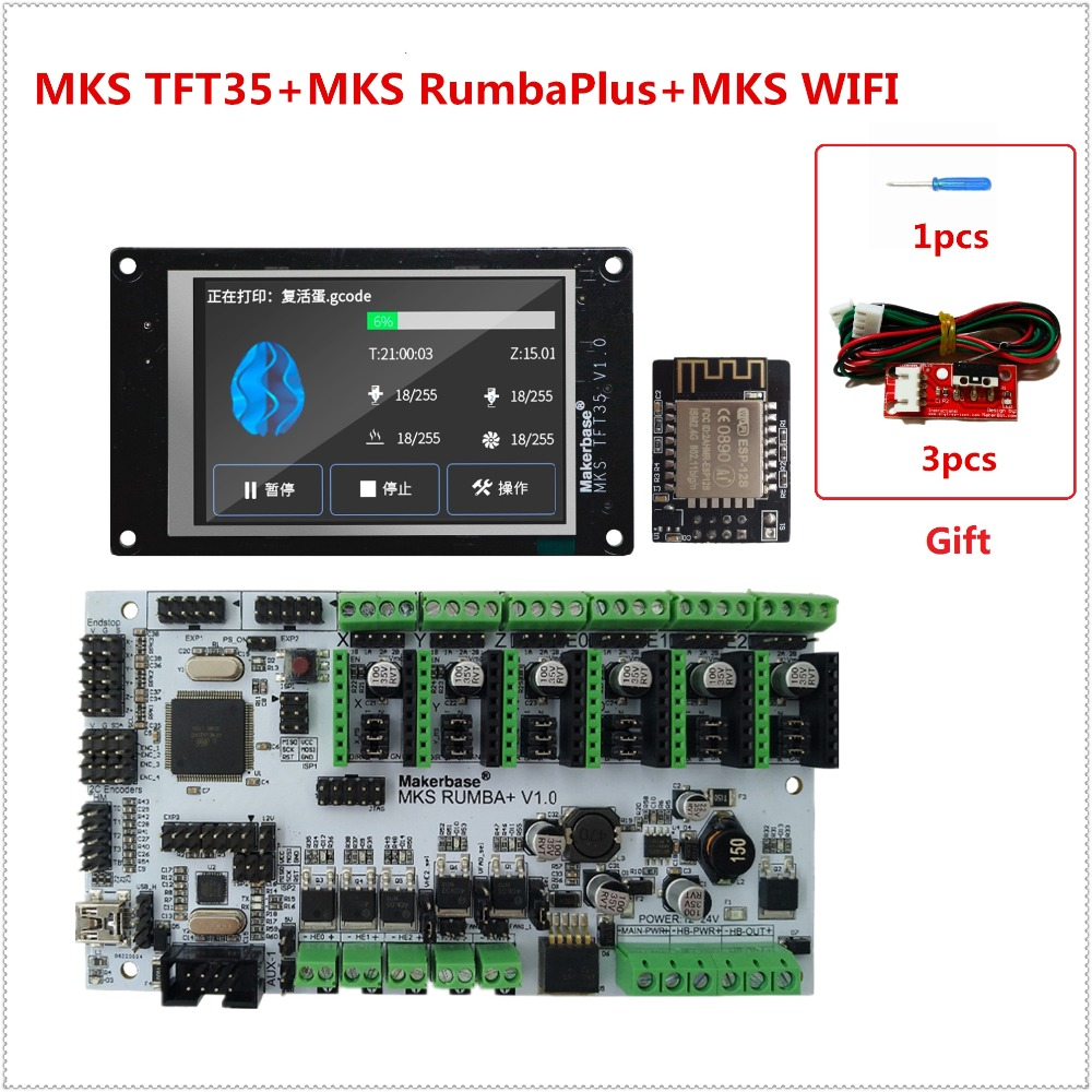 NEW 3d printer display MKS TFT35 touch screen + MKS Rumba Plus + MKS WIFI remote monitor DIY unit controller for FDM printer mks gen l mainboard mks wifi module mks tft35 lcd tft 35 display controller suite cheap 3d printer control unit diy starter kit