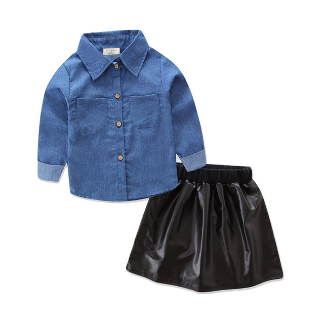 560eeb549181 Cute Baby Girls Clothes 2018 Summer Fashion Toddler Kids Denim Tops+Black  Leather Skirt 2pcs Outfits Children Girl Clothing Set
