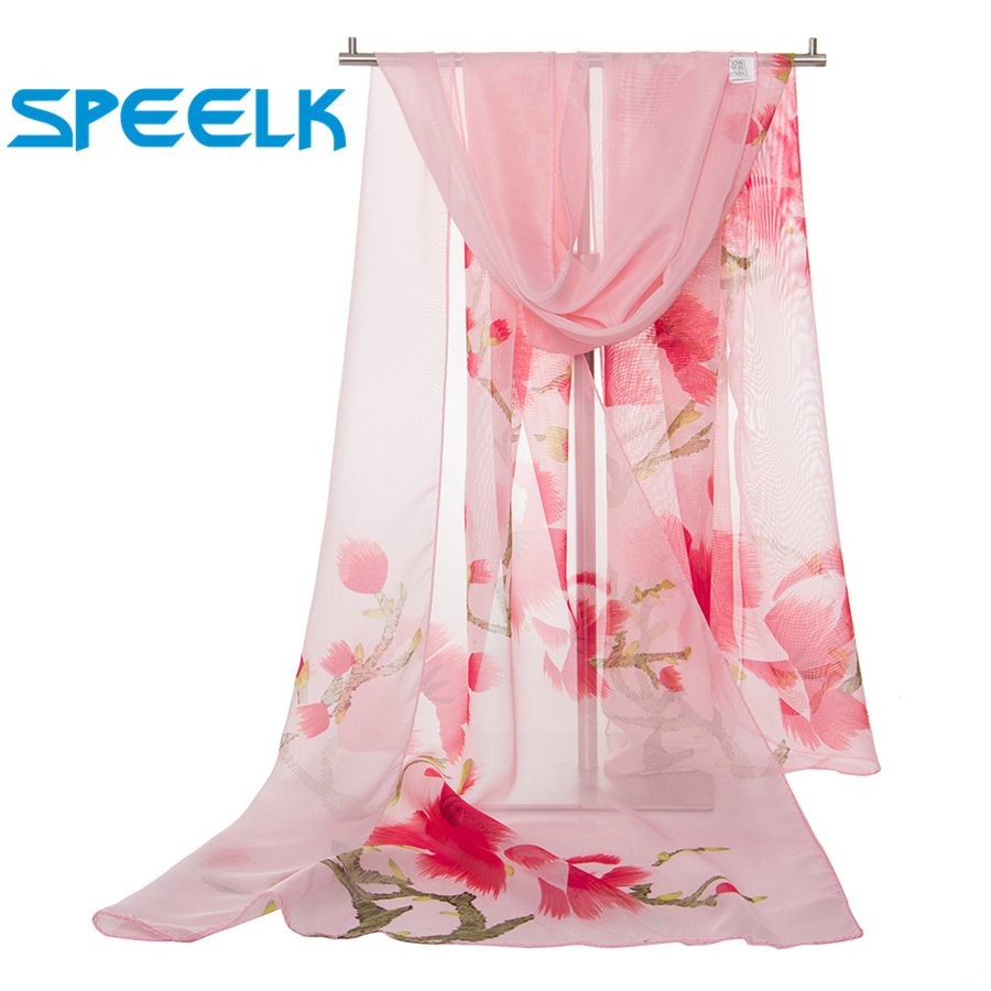 New Peach Scarves Women Spring Autumn Simulation Silk Scarf Lady Thin Flower Shawls And Wraps Female Foulard  Hijab Stoles