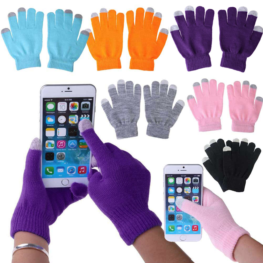 Unisex <font><b>Winter</b></font> Warme Kapazitiven Stricken Handschuhe Hand Wärmer für Touch Screen Smart Telefon Weibliche Handschuhe 2017 New Finger Handschuhe image