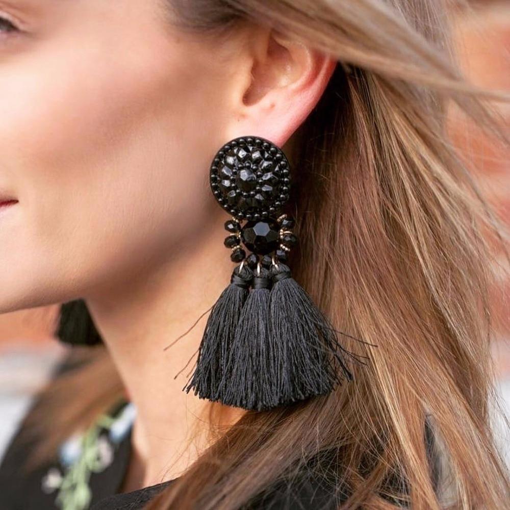 JUJIA Membesar-besarkan Wanita Bohemian Perhiasan India Pernyataan Jatuhkan Fringe Earrings Vintage Panjang Rumbai Anting Pendientes