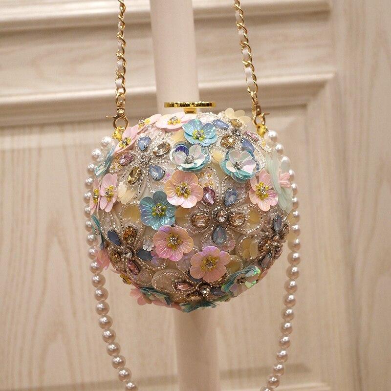 Primavera nueva marea mujer flores de mano incrustadas con taladro de agua un solo hombro slant de mano con bola de perlas redondo bolsa - 2