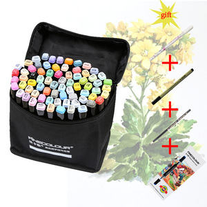 Image 1 - 480 Color Finecolour Dual Head Art Markers Pen Oily Alcoholic Sketch Marker Soft Brush Pen Art Supplies Markers Pen for Drawing
