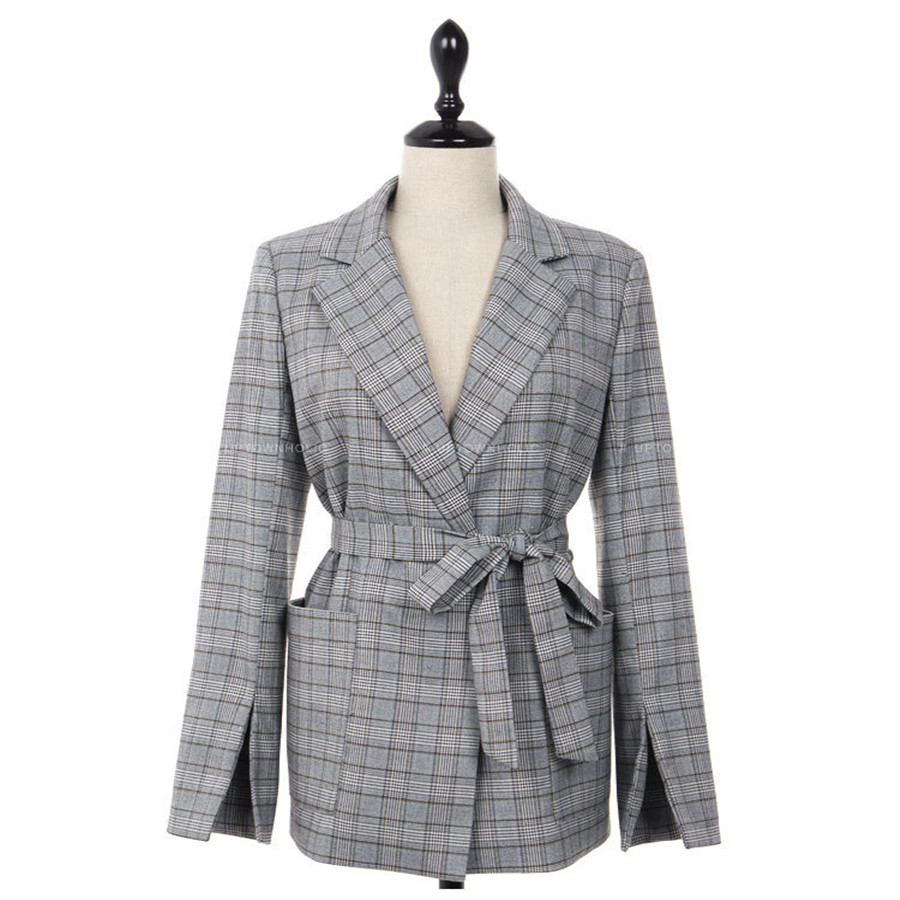 Hodisytian Autumn Fashion Blazer For Women Casual Plaid Suits Elegant Sashes Female Jacket Coat Blazer Outerwear Long Sleeve