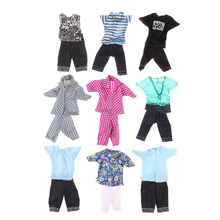 Casual Suits Doll Clothes Plaid Shirt T-shirt +Pants Prince Fashion Wear Outfits For Ken Doll Best Gift For Kids Girls(China)