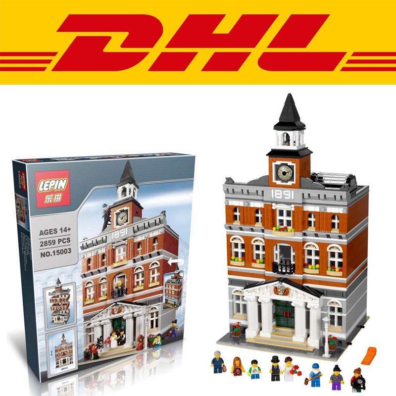 2016 font b LEPIN b font 15003 New 2859Pcs Creators The town hall Model Building Kits